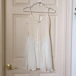 Stunning Creme Flouce Slip Dress